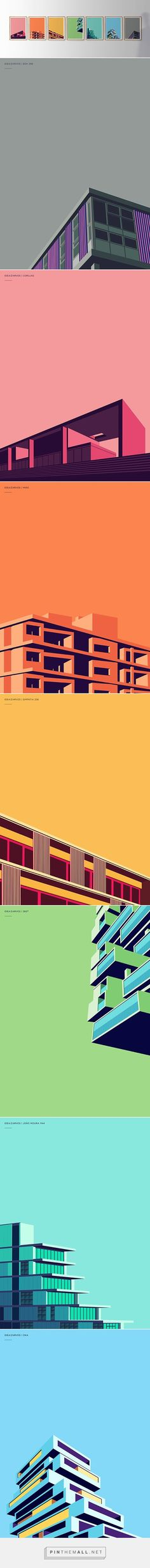 Very cool series of minimal architecture posters. The use of color is smart, not too overwhelming, and really complements elements of the building's design.