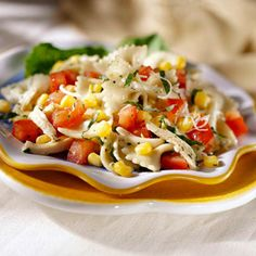 "No salad says ""summer"" better than this one, complete with fresh tomatoes, corn, and chicken."