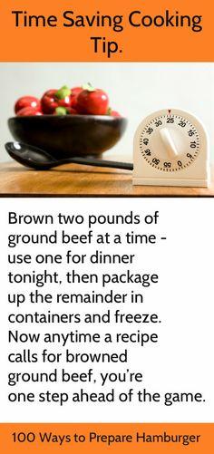 Tips for Busy Cooks - http://100waystopreparehamburger.blogspot.ca/p/hamburger-cooking-tips.html