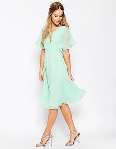 ASOS WEDDING Lace And Pleat Midi Dress
