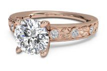Grecian Leaf Diamond Band Engagement Ring with Surprise Diamonds – 3614