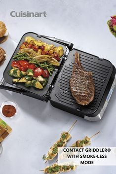 Our new Contact Griddler® with Smoke-less Mode is your new best friend in the kitchen all year round, especially when it's cold outside! Bring grilling indoors without all of the smoke, and make your favorite beef, poultry, fish or pork dishes with ease. #kitchenmusthave #cuisinart #savorthegoodlife #grilling #grillmaster #grillrecipes Griddle Recipes, Grilled Beef, Kitchen Must Haves, Fluffy Pancakes, Drip Tray, Grill Master, Home Chef, Pork Dishes, The Smoke