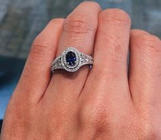 Double Halo Sapphire Engagement Ring from Simon G