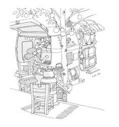 by 박정은 호호미욜카페 홍대 상수동, 호호미욜카페.  폭스바겐 캠핑카가 카페 내부에 있는 아기자기한 카페. 아직 남아있지만, 최근에는 가보지 못했습니다. Creator's Playground: Grafolio