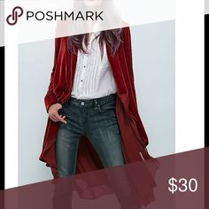 💙Stylish Asymmetrical wine red coat💙 💙Stylish Asymmetrical collarless long sleeved chiffon wine red color coat💙Only have 1💙 Jackets & Coats