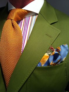 MTM summer green Scabal jacket fitted by Lowet Tailors, RL Purple Label multi-colored striped shirt, floral print silkEtro square& orange Tom Ford knit