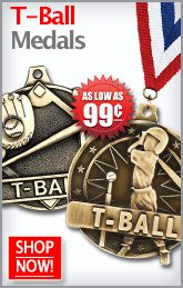Looking for Medals to Hand Out to Your T-Ball Team? Crown's T-Ball Medals are a Must! http://www.crownawards.com/StoreFront/T-Ball.ALL.Medalsqz1Dogtags.srch