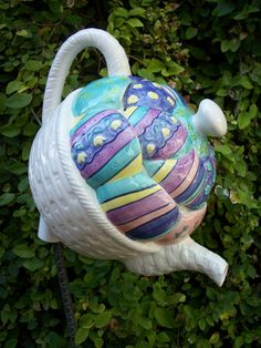 Colorful Teapot and Purple Polka-dot Teacup by GardenTreasures3