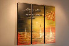 Summer Sail - Studio Mojo Artwork Original Triptych Canvas Wall Art