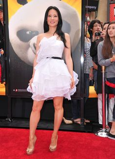 Lucy Liu Platform Pumps - Lucy Liu teamed her flouncy white dress with nude platform pumps at the premiere of 'Kung Fu Panda 2.'