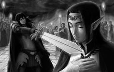 Silmarillion by sagasketchbook. - Feanor draws his sword on his half-brother Fingolfin. Elf Drawings, The Moment You Realize, Jrr Tolkien, Dark Lord, Middle Earth, Lord Of The Rings, Medium Art, Lotr, The Hobbit