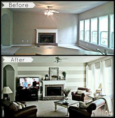 Living room before & after.
