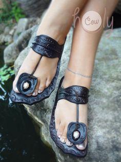100% Handmade Funky Thai Dark Brown Leather Sandals