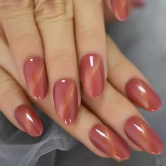 Excited to share this item from my shop: Coral Red Cat Eye Press On Nails Full Wrap Cover Oval Medium False Nails Hand Paint Gelnail ,cat eye design press on nail,Glossy nail,nails Glue On Nails, Uv Gel Nails, Pink Nails, Stiletto Nails, Coffin Nails, Cute Nails, Pretty Nails, Cat Eye Nails, Gel Nail Colors