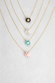Shield Stone Necklace: Available in Black Marble, White Marble, Turquoise Stone, Rose $20