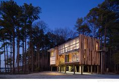 Loblolly House, by Kieran Timberlake. Very stunning design. I like how the post foundations and vertical wood facade mimics the tall thin pine trees.