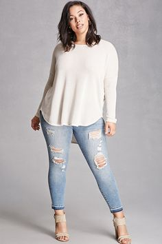 Forever 21+ - A pair of mid-rise denim jeans in a skinny fit, distressed details along the front, a five-pocket construction, a button zip fly, and a frayed hem. This is an independent brand and not a Forever 21 branded item.
