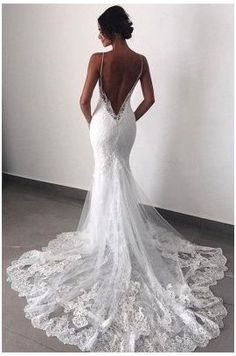 Spaghetti Strap Wedding Dress, Backless Lace Wedding Dress, Wedding Dresses With Straps, Luxury Wedding Dress, Lace Mermaid Wedding Dress, Mermaid Dresses, Dream Wedding Dresses, Bridal Dresses, Spaghetti Straps