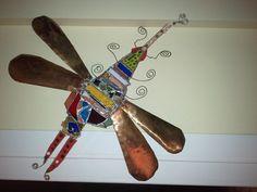 Dragonfly sculpture glass/brass