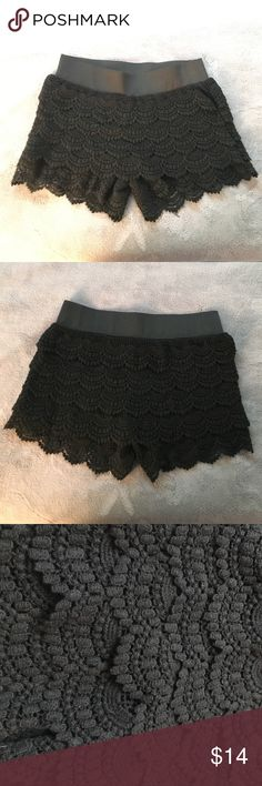 Black lace shorts! These beautiful black lace shorts are perfect for your wardrobe! Never worn! Size medium! Asking $14.00. Wet Seal Shorts