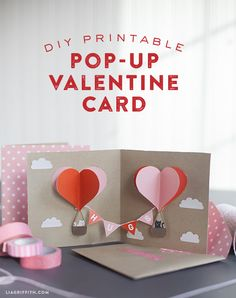 I wanted to create Valentine cards that would be really fun to make at home- I think this pop-up card does just that! There is a link for this free printable.