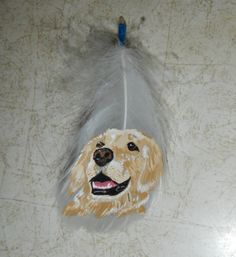 Golden Retriever Painted Feather by SpiritChickadee on Etsy, $30.00