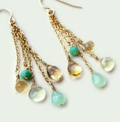 Calypso Earrings with Chrysoprase Aqua Chalcedony Citrine Summer