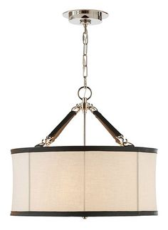 Broomfield Small Pendant Brand: Visual Comfort  Product code: VC-RL5161  Broomfield Small Pendant by RALPH LAUREN, shown in Polished Nickel and Saddle Leather with Linen Shade. Also available in Natural Brass  Dimensions: Height: 57cm Width: 61cm