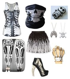 """Skeleton"" by animefan333 ❤ liked on Polyvore featuring Dsquared2, BERRICLE, Alice + Olivia and BUFF"