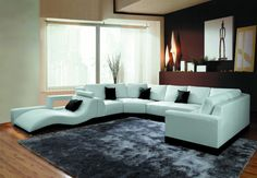 2264B Modern White Leather Sectional Sofa