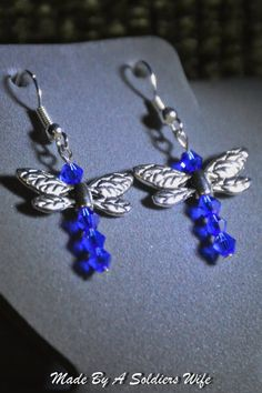 Dragonfly Dangle Earrings by MadeByASoldiersWife on Etsy