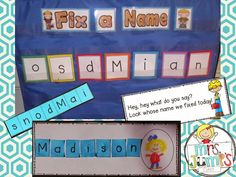 Mrs Jump's class: FREE! Alphapalooza Session handouts! Use the names of your students to work on identifying letters and their sounds.