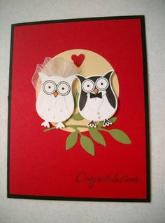 Owl Wedding by Judy'sSister - Cards and Paper Crafts at Splitcoaststampers Wedding Cards Handmade, Greeting Cards Handmade, Scrapbooking, Scrapbook Cards, Scrapbook Albums, Owl Wedding, Wedding Dress, Owl Punch Cards, Wedding Congratulations Card