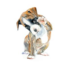 13x19 Custom Pets Portrait original watercolor painting customized commision dog cat animal pet lover large illustration drawing. $95.00, via Etsy.