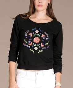 This Flying Tomato Black & Pink Floral Scoop Neck Top by Flying Tomato is perfect! #zulilyfinds
