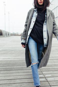 Denim jacket, cozy turtleneck, and a long winter coat.