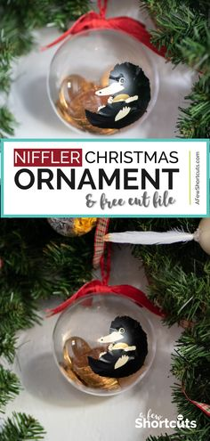 DIY Niffler Christmas Ornament with Cut File DIY Niffler-Weihnachtsverzie. DIY Niffler Christmas Ornament with Cut File DIY Niffler Christmas Ornament with Cut File Diys Harry Potter Christmas Decorations, Harry Potter Christmas Tree, Hogwarts Christmas, Outdoor Christmas Decorations, Disney Christmas, Vinyl Christmas Ornaments, Diy Christmas Lights, Christmas Tree Crafts, Angel Ornaments