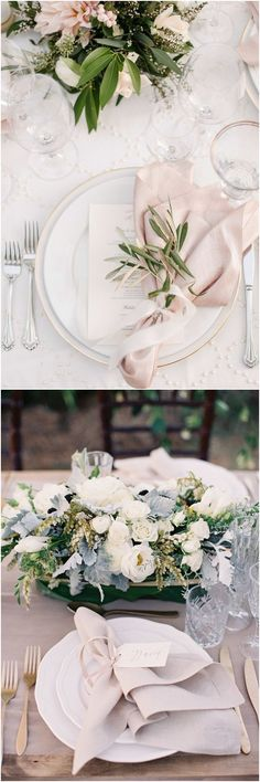 ideas wedding table ideas decoration place settings for 2019 Rustic Wedding Centerpieces, Flower Centerpieces, Table Centerpieces, Verde Greenery, Wedding Reception Table Decorations, Wedding Place Settings, Table Setting Wedding, Wedding Places, Table Flowers