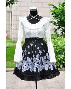 Black White Prints Lace Summer Skirt #lolitadress   #summer  #skirt
