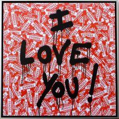 "Brainwash ""I Love You!"" Fragile Stickers Canvas for sale Urban Graffiti, Street Art Graffiti, Prints For Sale, Art For Sale, Mr Brainwash Art, Pink Painting, Beauty Art, Paintings For Sale, Original Artwork"