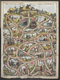 'The Cottage of Content or Right Road and Wrong Ways. A Humorous Game' - boardgame based on following route on a map to the Cottage of Content at the top of the map - William Matthias Spooner, 1848, UK