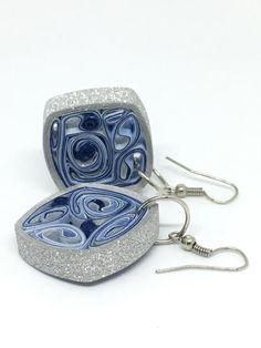 Festive Sparkle earrings - glitter earrings - 1st anniversary gift - silver and blue earrings - dangle earrings - shimmering earrings