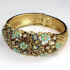 Ciner Ruby Sapphire and Turquoise Flowers Sprung Bangle with Watch Bracelet (scheduled via http://www.tailwindapp.com?utm_source=pinterest&utm_medium=twpin&utm_content=post125039455&utm_campaign=scheduler_attribution)