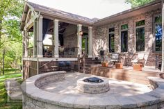 Franklin TN open porch with deck, patio and fire pit