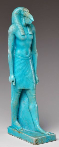 Statuette of the God Thoth, ibis-headed, faience (height 14.1cm), Egypt, 332–30 B.C.