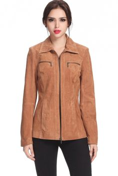 "BGSD Women's ""Stacy"" Zip Front Suede Leather Jacket. Check out this great style for $99.99 on Luxury Lane. Click on the image above to get a coupon code for 10% off on your next order."