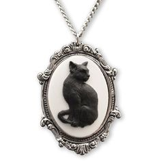 Black Cat Cameo in Antique Silver Finish Pewter Frame Pendant Necklace ❤ liked on Polyvore featuring jewelry, necklaces, pewter jewelry, antique silver jewellery, pewter necklace, cameo pendant necklace and antique silver jewelry