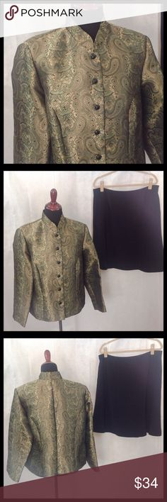 """MSK 1X Green, Black & Gold Blazer MSK green, black and gold blazer. Imported fabric has a beautiful satin sheen. Black skirt shown (included, size 16) did not come with the jacket, but wears well with it. In also has a nice sheen on he fabric. Jacket Bust and waist 44""""; hips 48"""".  Skirt waist 39""""; hips 46""""; length 24"""". MSK Jackets & Coats Blazers"""