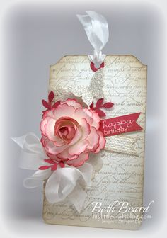 Pretty tag with Blossom Punch Rose Tutorial Happy Birthday Tag, Birthday Tags, Flower Cards, Paper Flowers, Card Tags, Gift Tags, Rose Tutorial, Handmade Tags, Paper Tags