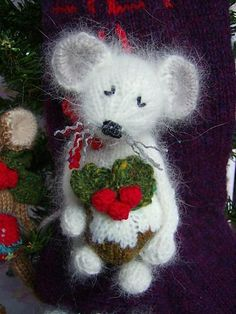 """""""A Very Mice Christmas Pudding"""" knitted toy pattern by Abigail Originals. Gorgeous little mouse and Christmas pudding patter available for free download for Ravelry members.    #mouse, #toy, #knitting"""